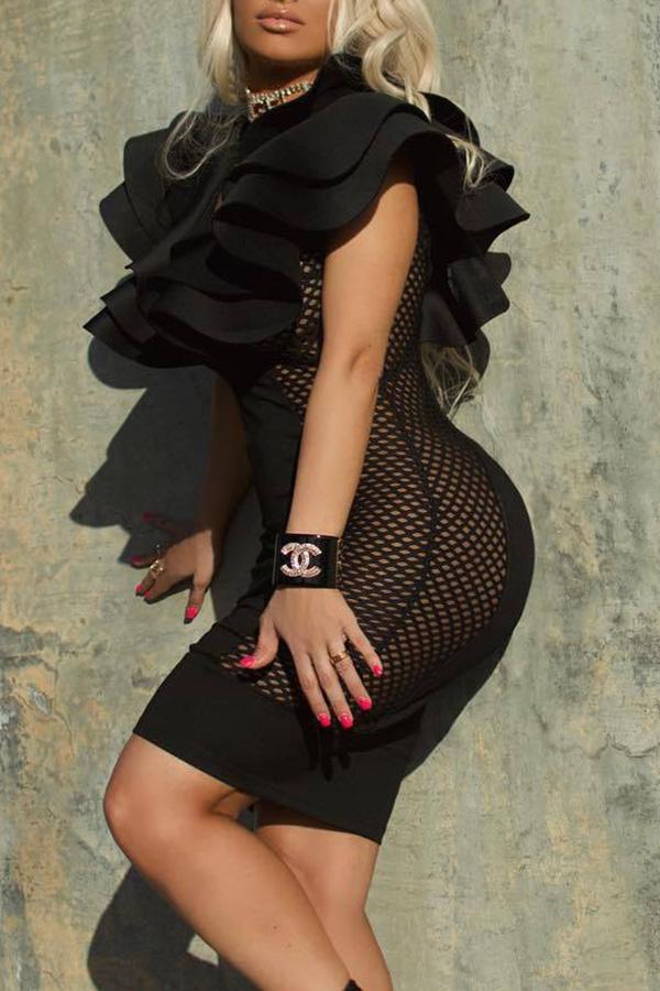 Lovely Party V Neck Mesh Patchwork Flounce Black Knee Length Dress