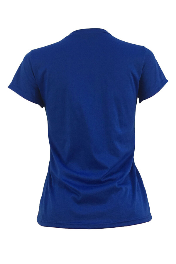 Lovely Casual Round Neck Cartoon Printed Blue Polyester T-shirt