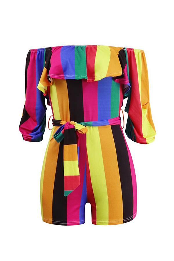 LovelyTrendy Bateau Neck Colorful Striped Qmilch One-piece Short Jumpsuits
