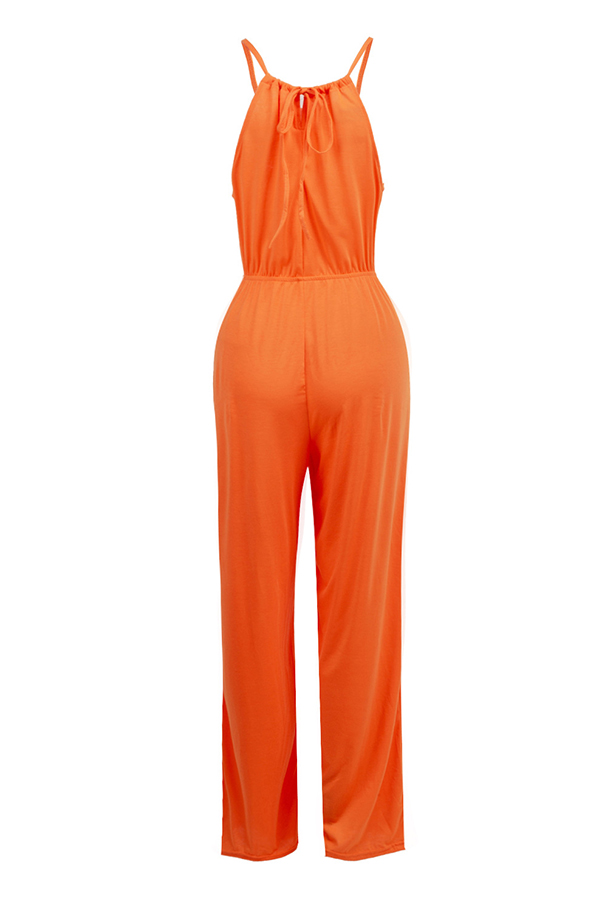 LovelyCasual Round Neck Drawstring Croci Blending One-piece Jumpsuits