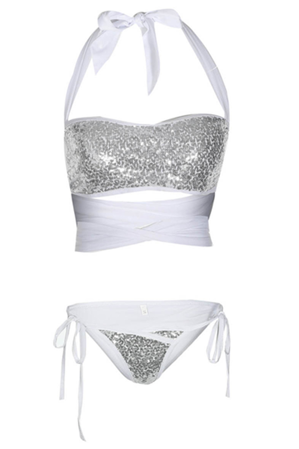 Lovely Chic Sequins Bandage White Two-piece Swimwears