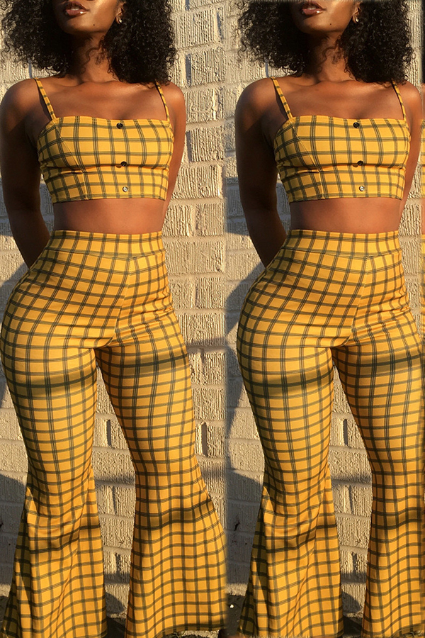 Lovely Sexy Grid Yellow Twilled Satin Two-piece Pants Set