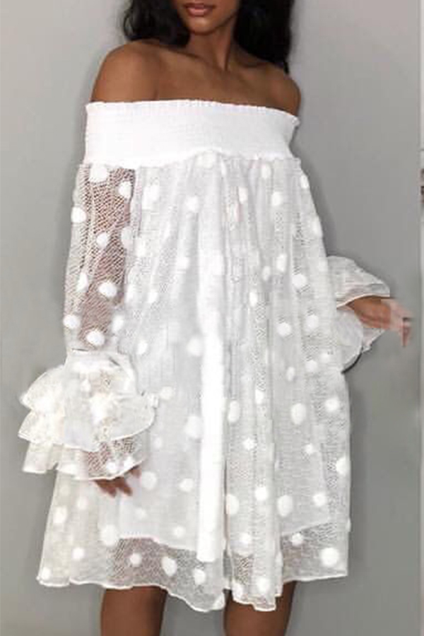 Lovely Trendy  Dew Shoulder Transparency White Mid Calf A Line Dress