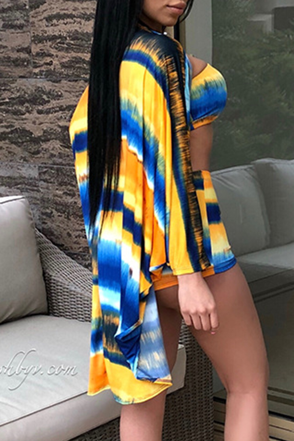 Lovely Fashion Long Sleeves Printed Three-piece Shorts Set