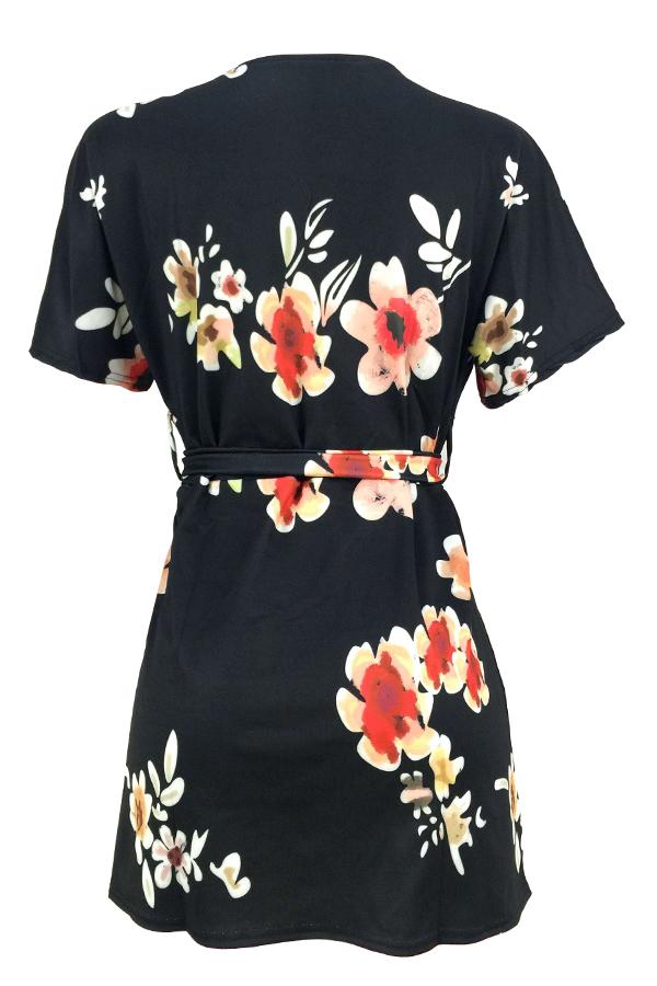 LovelySexy Printed Black Twilled Satin Mini Dress
