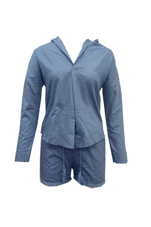 Lovely Casual Hooded Collar Blue Two-piecec Shorts Set