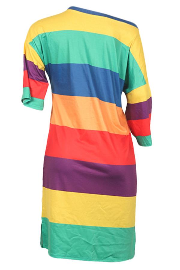 LovelyCasual Dew Shoulder Striped Knee Length Dress