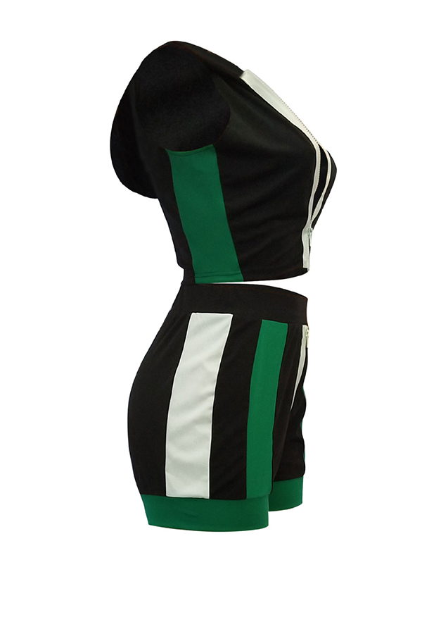 Lovely Casual Hooded Collar Striped Black Two-piece Shorts Set