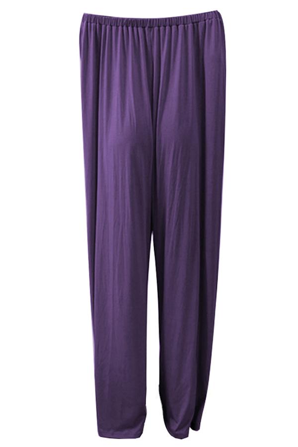 LovelyCasual Dew Shoulder Purple Cotton Blends One-piece Jumpsuit