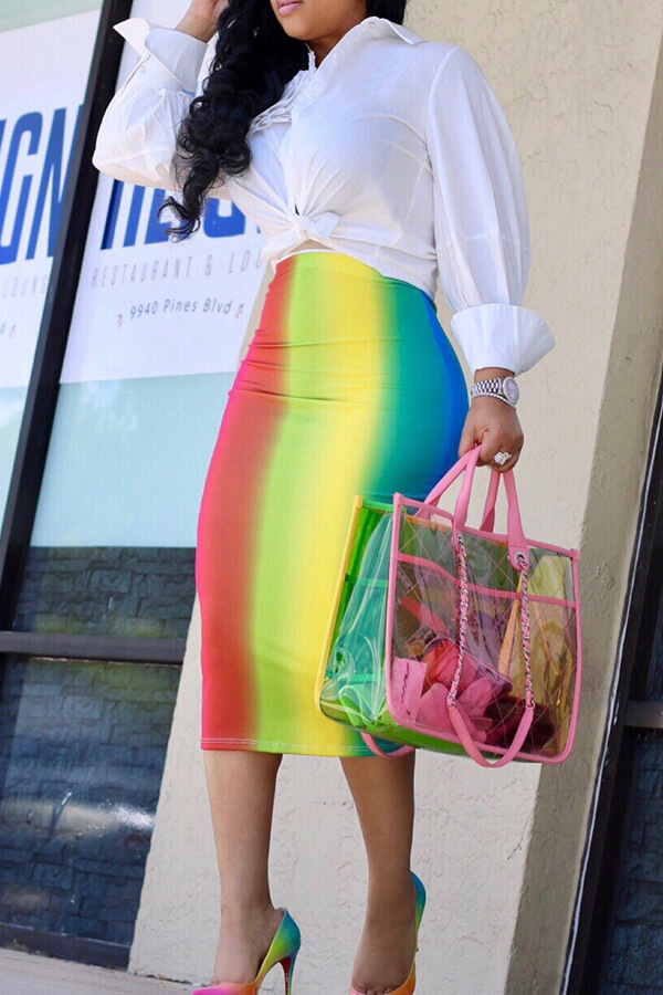 LovelySexy Rainbow Printed Mid Calf Skirts