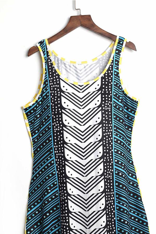 LovelyStylish U Neck Striped Fold Green Milk Fiber Floor Length Dress