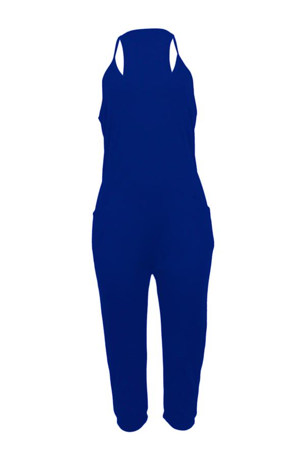 LovelyFashion V Neck Pocket Design Blue One-piece Jumpsuits