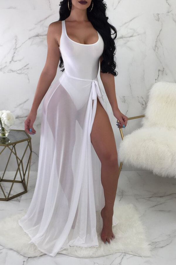 Lovely Euramerican See-Through White Two-piece Swimwear (With Grenadine)