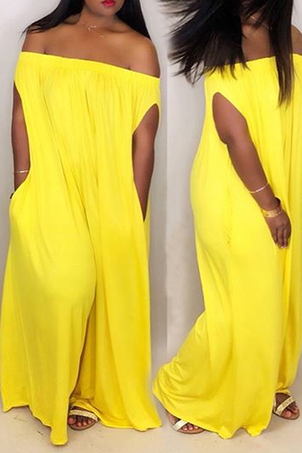Lovely Casual Dew Shoulder Yellow One-piece Jumpsuit