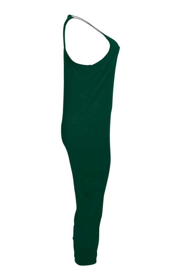 Lovely Euramerican Dew Shoulder Green One-piece Jumpsuit