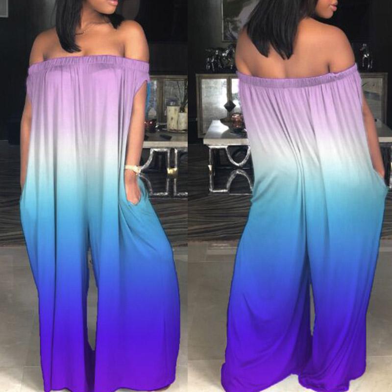 LovelyCasual Bateau Neck Rainbow Printed Purple One-piece Jumpsuits