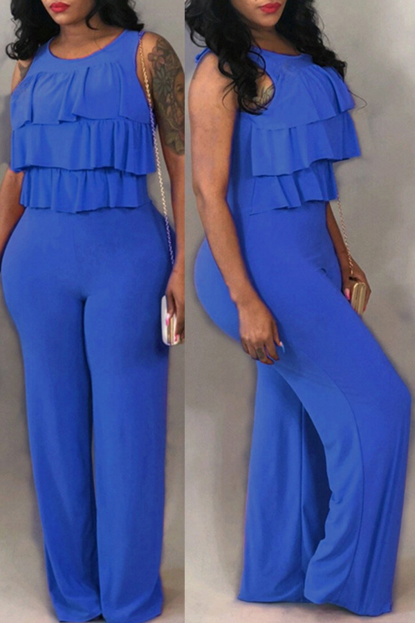 LovelyEuramerican Ruffle Design Loose Blue One-piece Jumpsuit