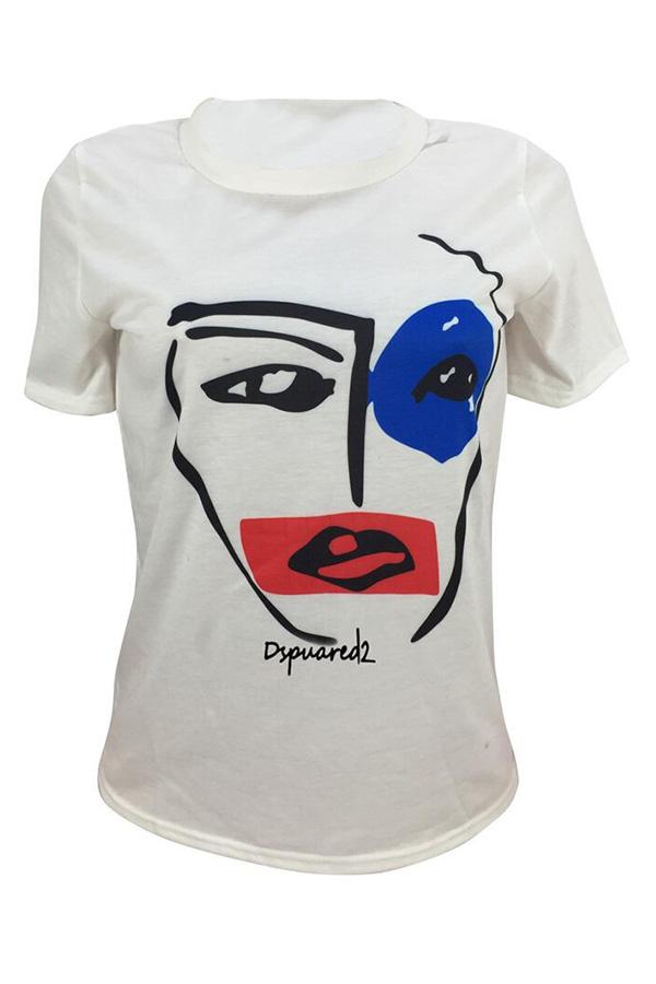 Lovely Euramerican Printed White T-shirt