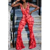 Lovely Street U Neck Printing Red Spandex One-piece Jumpsuits