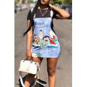 LovelyCasual Round Neck Patchwork Cartoon Printed Black Twilled Satin Mini Dress