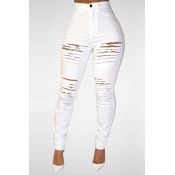 LovelyTrendy High Waist Broken Holes White Denim S