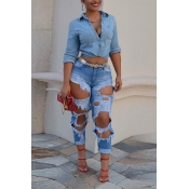 LovelyTrendy High Waist Broken Holes Blue Denim Pa