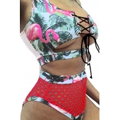 Lovely Chic Lace-up Hollow-out Printing Green  Two-piece Swimwear