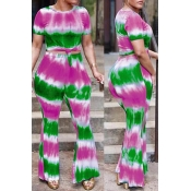 Lovely Casual Printed Green Twilled Satin Two-piece Pants Set