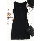 Lovely Casual U Neck Buttons Black Knitting Sheath