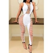 Lovely Sexy Lace-up Hollow-out White Cotton One-piece Jumpsuits