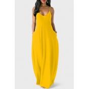 Reizendes V-Ausschnitt Asymmetrisches Gelbes, Bodenlanges Kleid