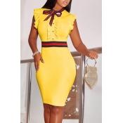 Lovely Fashion Round Neck Ruffle Design Yellow Blending Sheath Knee Length Dress