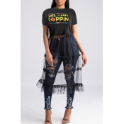LovelyStreet Round Neck Letter Patchwork Black T-shirt