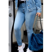 Lovely Fashion High Waist Baby Blue Denim Zipped J