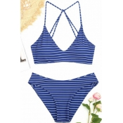 Lovely Chic White Striped Two-piece Swimwears