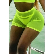 Lovely Chic High Elastic Waist See-Through Green S