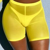 Lovely Chic High Elastic Waist See-Through Yellow