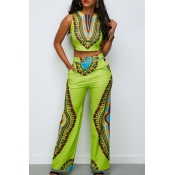 Lovely National Style Totem Printed Green Two-piec