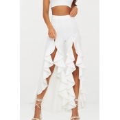 Lovely Trendy High Waist Asymmetrical White Pants