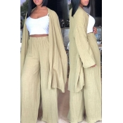 Lovely Casual Light Green Linen Two-piece Pants Set