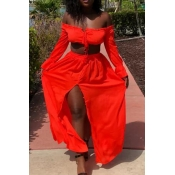 Lovely Sexy Dew Shoulder Red Chiffon Two-piece Skirt Set