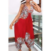 Lovely National Style Totem Printed Red One-piece
