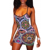 Lovely National Style Totem Printed Sheath Mini Dr
