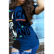 LovelyCasual Round Neck Letters Printed Blue T-shirt