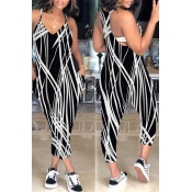 LovelyCasual V Neck Patchwork Black-white One-piece Jumpsuit