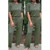 Lovely Casual Green One-piece Jumpsuits