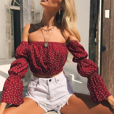 Lovely Sweet Bateau Neck Dot Printed Red Polyester Shirts