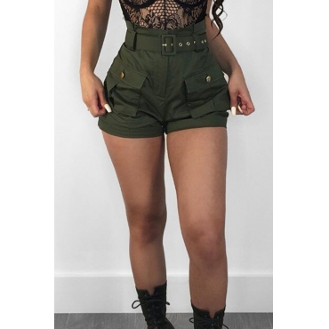 Lovely Fashion High Waist Army Green Cotton Blends Zipped Shorts