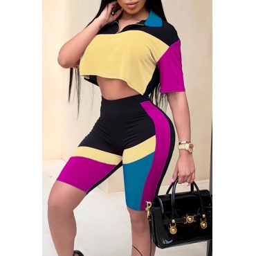 Lovely Fashion Turndown Collar Color Block Yellow Polyester Two-piece Shorts Set