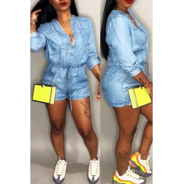 Lovely Casual V Neck Drawstring Blue Denim One-piece Short Jumpsuits